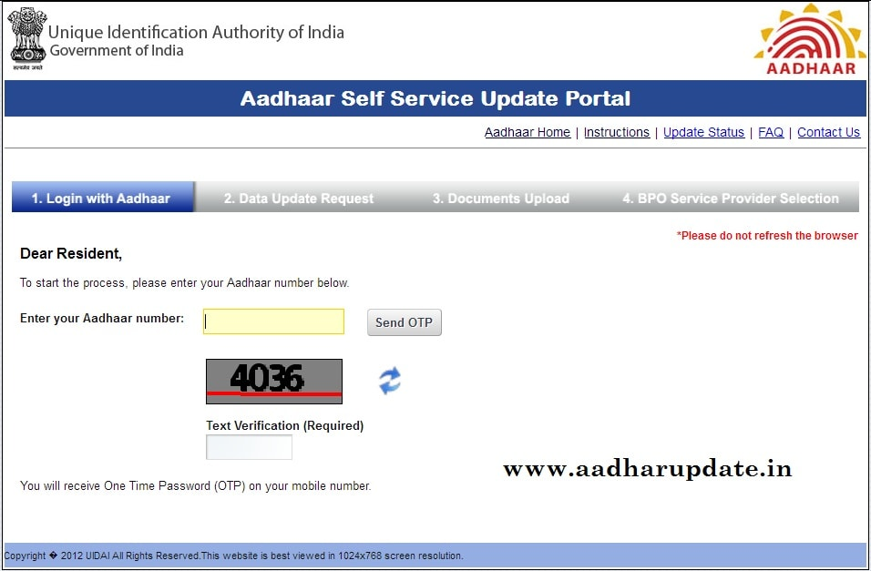 Aaadhaar Phone Update