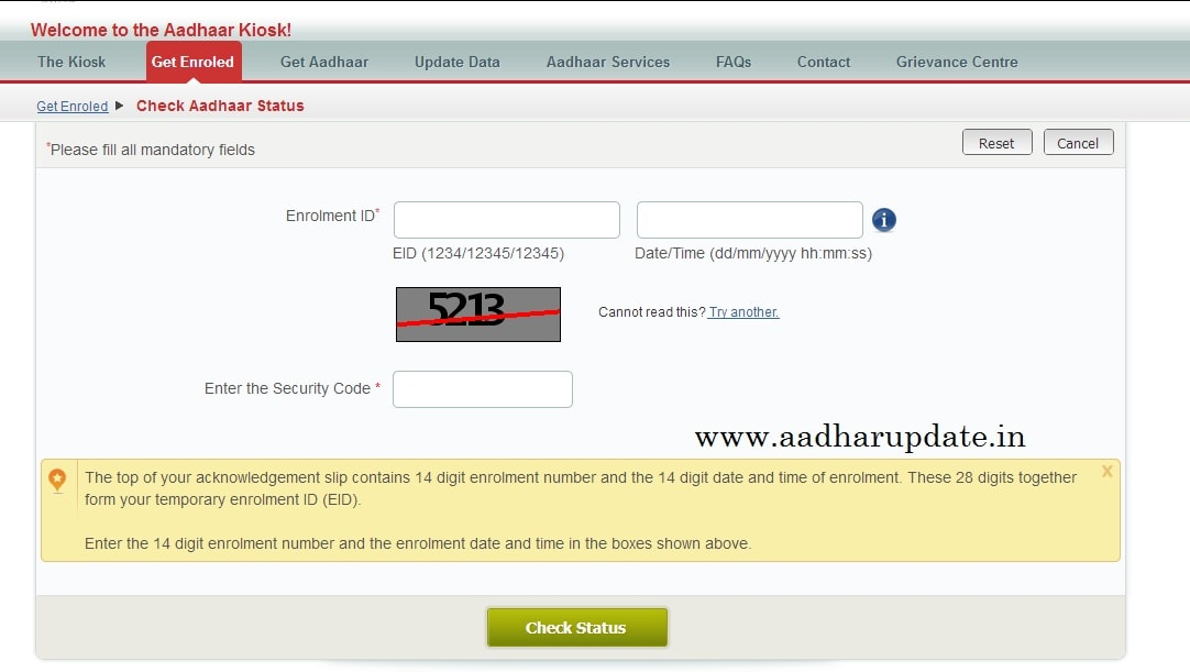 Check Aadhar Status